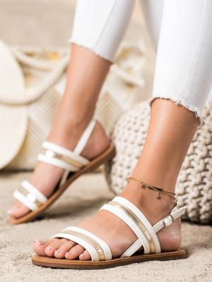 Praktické dámské bílé  sandály bez podpatku