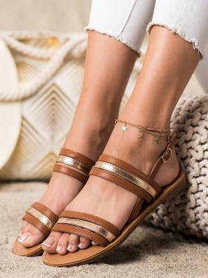 Moderní  sandály hnědé dámské bez podpatku
