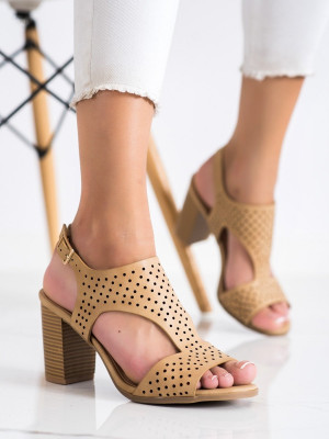 Stylové  sandály dámské hnědé na širokém podpatku