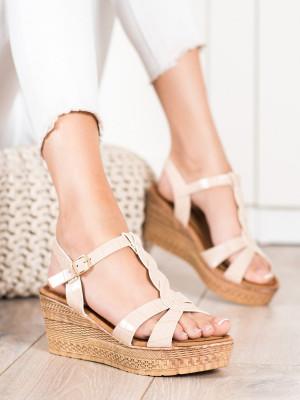 Exkluzívní  sandály hnědé dámské na klínku
