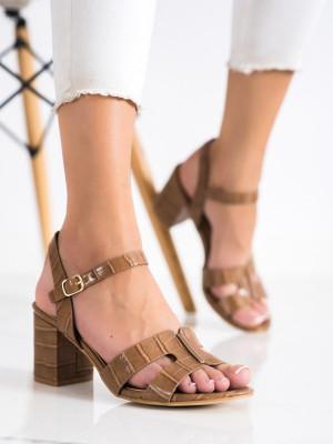 Módní  sandály dámské hnědé na širokém podpatku