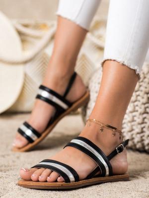 Klasické černé dámské  sandály bez podpatku