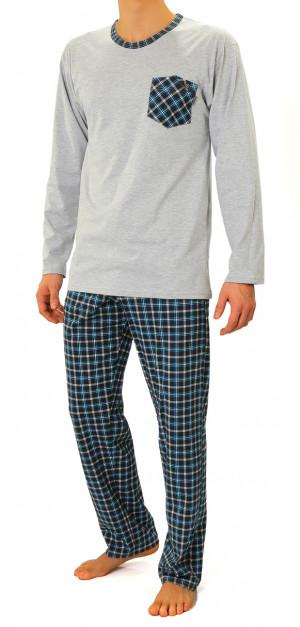 Pánské pyžamo s dlouhými rukávy 04 Tyrkysový