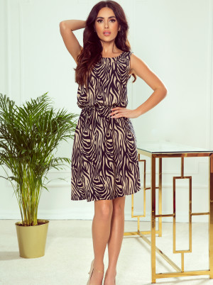 Numoco černo-hnědé šaty se vzory