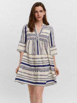 Vero Moda modro-krémové volné šaty Dicthe se vzory
