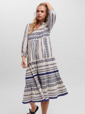 Vero Moda modro-krémové midi šaty Ditche se vzory