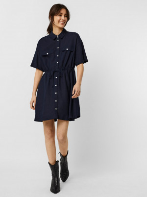 Vero Moda modré košilové šaty Haf