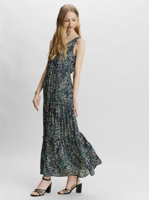Vero Moda modré květované maxi šaty Hannah