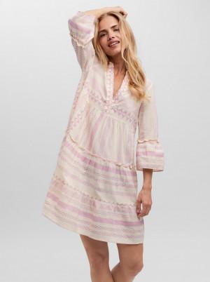 Vero Moda krémovo-růžové volné šaty Dicthe se vzory