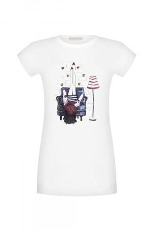 Rinascimento bílé tričko s potiskem - M/L