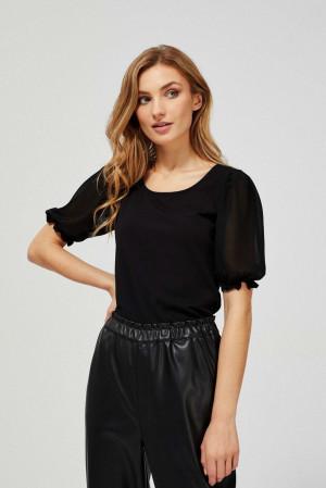 Moodo černé tričko s transparentními rukávy