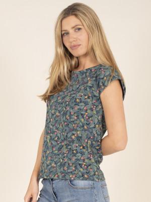 Brakeburn modré tričko s květinovým motivem