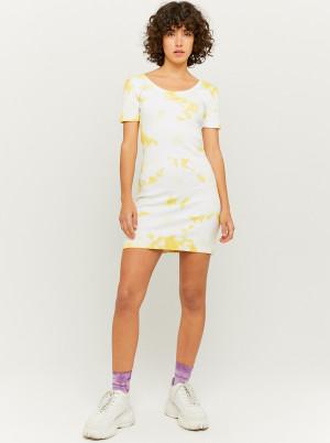 Tally Weijl žluto-krémové pouzdrové šaty