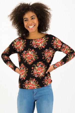Blutsgeschwister černé tričko Graceful Harvest s barevnými motivy