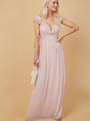 Little Mistress světle růžové společenské maxi šaty
