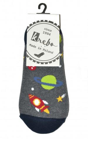 Pánské ponožky ťapky se vzorem 0744 - Krebo tm.design v šedé barvě 43-46