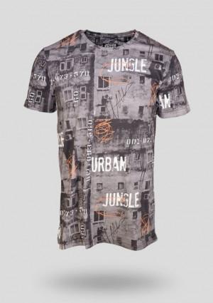 Pánské tričko John Frank JFTD16 L Tm. šedá