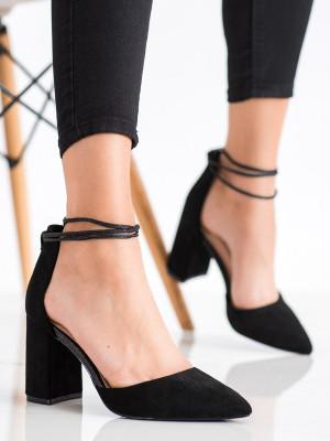 Designové dámské černé  lodičky na širokém podpatku