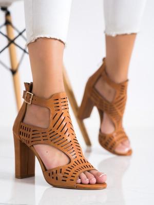 Trendy hnědé  sandály dámské na širokém podpatku