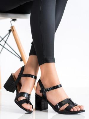 Luxusní dámské  sandály černé na širokém podpatku