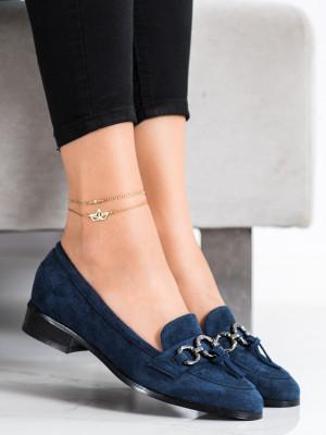 Módní dámské modré  lodičky na plochém podpatku