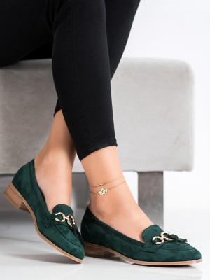 Moderní dámské zelené  lodičky na plochém podpatku