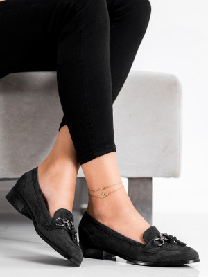 Trendy  lodičky černé dámské na plochém podpatku
