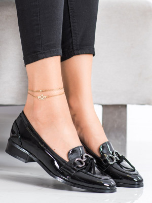 Exkluzívní  lodičky dámské černé na plochém podpatku