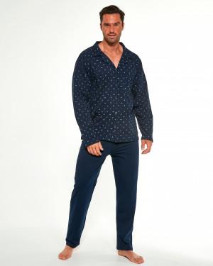 Pánské rozepínací pyžamo Cornette 114/51 244602 dl/r M-2XL námořnická modrá