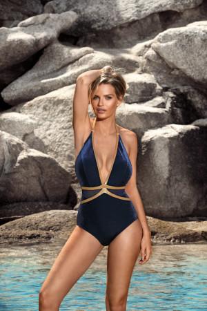 Jednodílné dámské plavky S 1018E19 - Self tmavě modrá 36/S