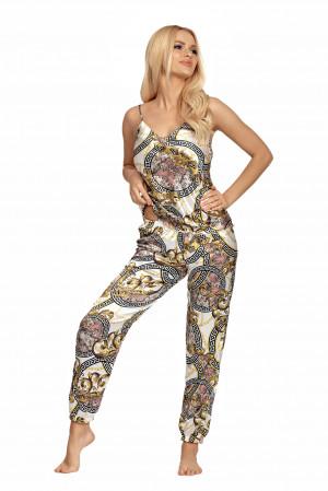 Dámské pyžamo Donatella 01 - Donna ecru s potiskem L-40