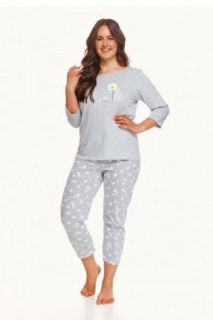 Taro 2601 Hera Z'22 Dámské pyžamo plus size 4XL grafitová (tmavě šedá)
