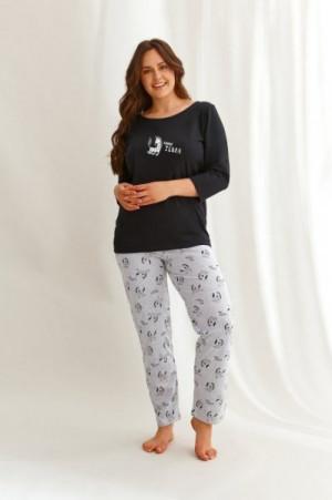 Taro 2610 3/4 Vesta Z'22 Dámské pyžamo plus size XXL černá-šedá