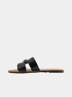 Pieces černé kožené pantofle Abia -