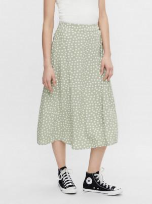 Pieces zelená midi sukně Selma