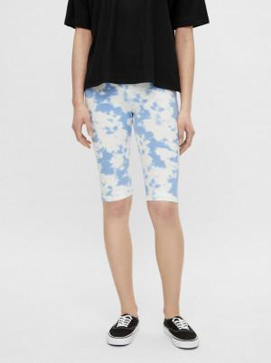 Pieces bílo-modré krátké legíny Tabbi Biker shorts