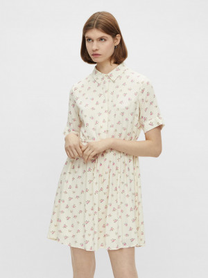 Pieces krémové košilové květované šaty Thea