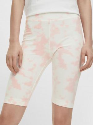 Pieces růžovo-bílé krátké legíny Tabbi