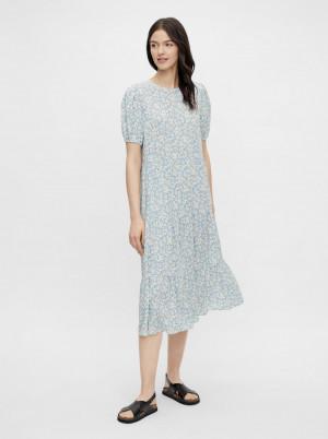 Pieces modré midi květované šaty Anneline
