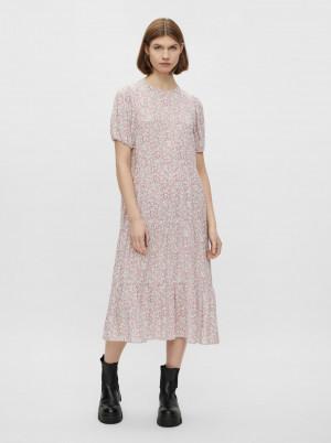 Pieces růžové midi květované šaty Anneline