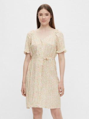 Pieces krémové květované šaty Timberly