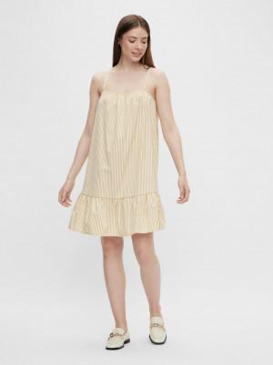 Pieces béžové pruhované šaty Palli