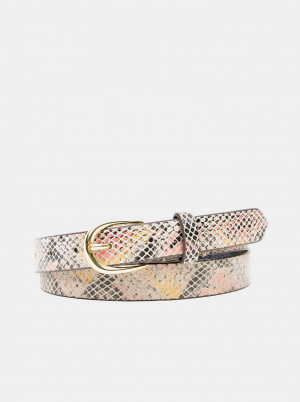 Pieces béžový kožený pásek Baven -