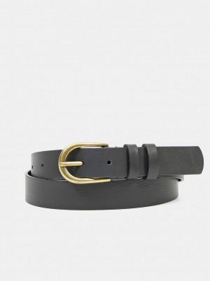Pieces černý kožený pásek Haven -