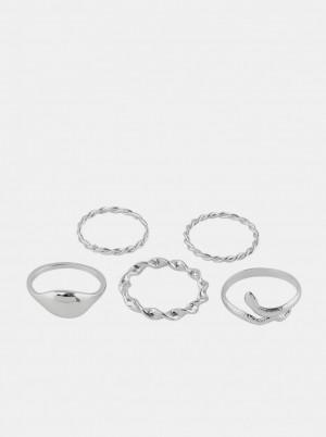 Pieces sada 5 stříbrných prstenů Jifra