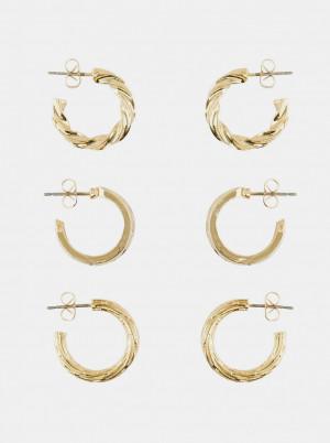 Pieces 3 páry zlatých náušnic Toopa