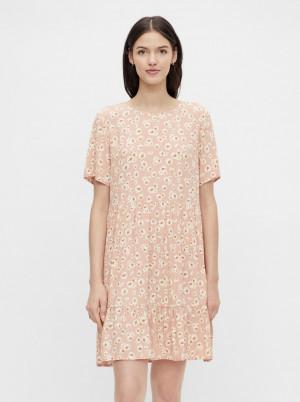 Pieces růžové květované šaty Miller