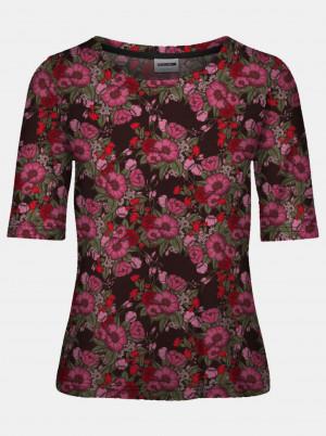 Noisy May černé tričko Sally s barevnými motivy