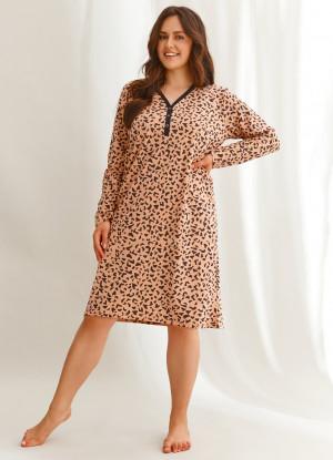 Dámská noční košile Taro Suzan 2609 dł/r 2XL-3XL hnědý leopardí tisk