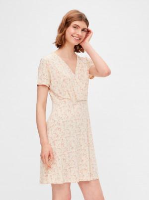 Pieces béžové květované šaty Emanuelle